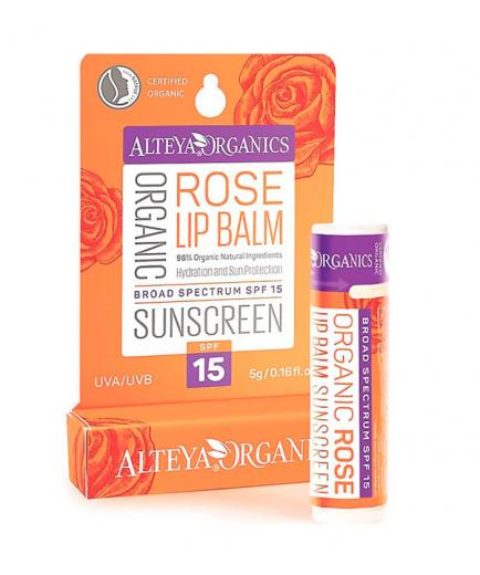 Alteya Organics - Organic Sunscreen Lip Balm SPF 15 - Rose Otto