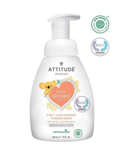 Attitude - Hair and body foaming wash 2 in 1 for babies Baby Leaves 295ml - Pear nectar