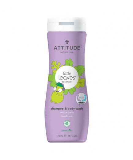 Attitude - Shampoo and gel 2 in 1 for children Little Leaves 473ml - Vanilla and pear