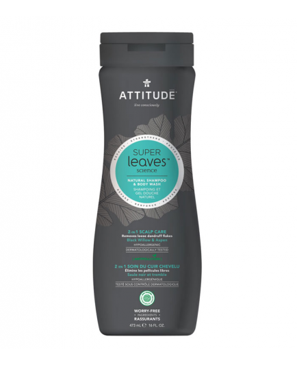 Attitude - Champú y Gel de Ducha Hombre 2 en 1 Scalp Care Super Leaves