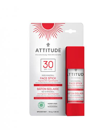 Attitude - 100% Mineral Face stick SPF 30 - Fragance-free