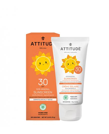 Attitude - 100% Mineral Sunscreen SPF 30 for kids - Vanilla Blossom 75gr