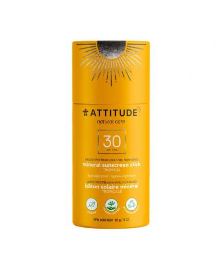 Attitude - 100% natural vegan sunscreen in stick SPF 30 85g - Tropical