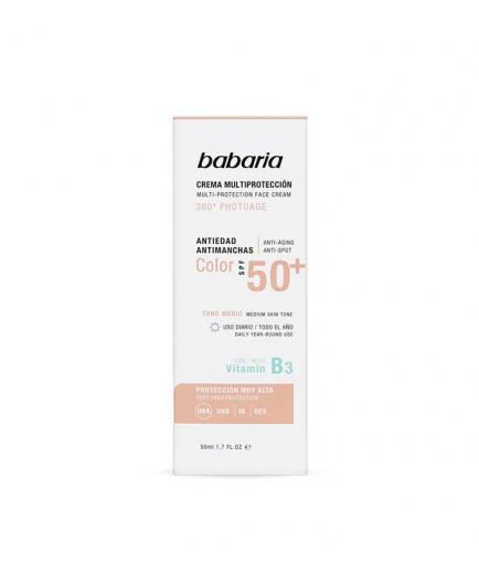 Babaria - Multi-protection facial cream with color SPF50 + 360º Photoage - Medium