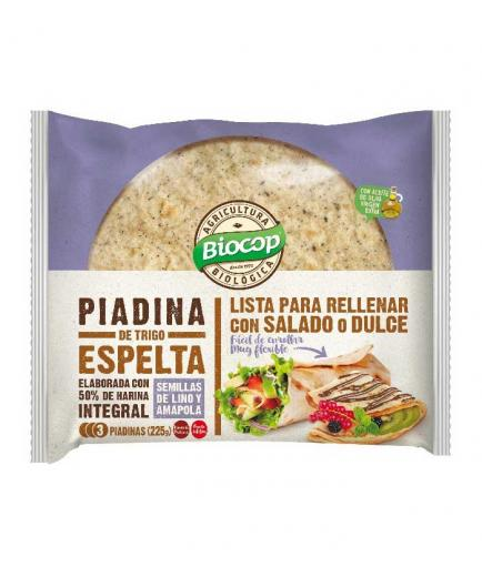 Biocop - Spelled wheat piadina Bio 225g - Flax and poppy seeds