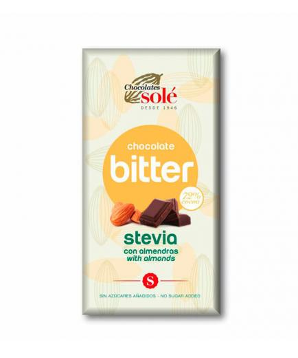 Chocolates Solé - Dark chocolate bitter stevia 72% with almonds