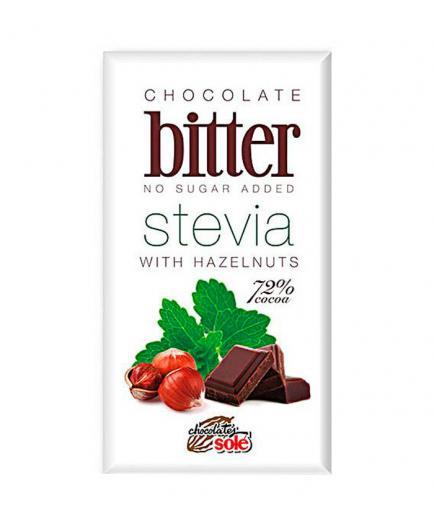 Chocolates Solé - Dark chocolate bitter stevia 72% with hazelnuts