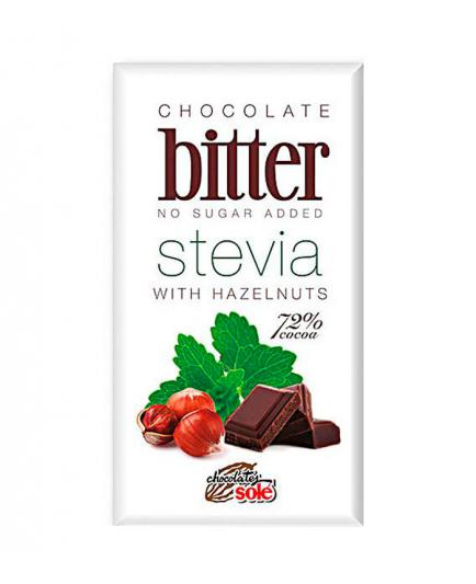 Chocolates Solé - Dark chocolate bitter stevia 72% with hazelnuts