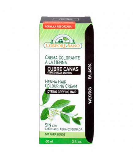Corpore Sano - Henna Coloring Cream Covers Gray Hair 60ml - Black