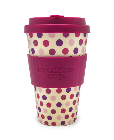Ecoffee cup - Bamboo glass 400ml - Pink Polka
