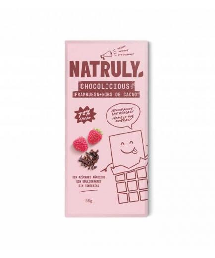 Natruly - Chocolate 72% Chocolicious 85g - Raspberry and cocoa nibs