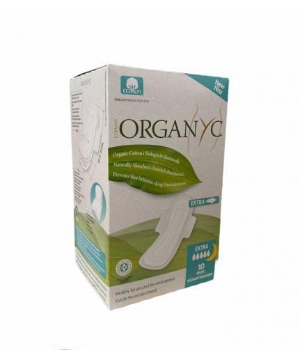 Organyc - Sanitary napkins with wings individual bag 10 units 100% organic cotton - Extra Night