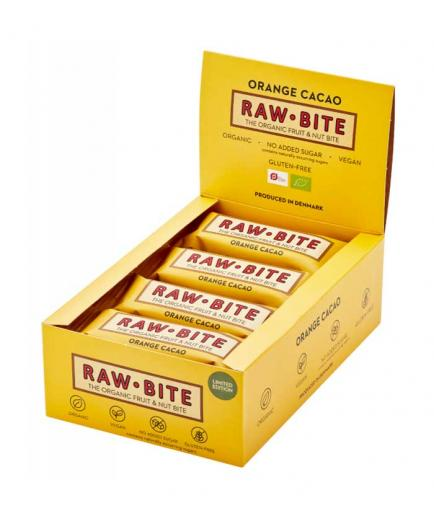 RAWBITE - Box of 12 natural energy bars - Orange and cocoa