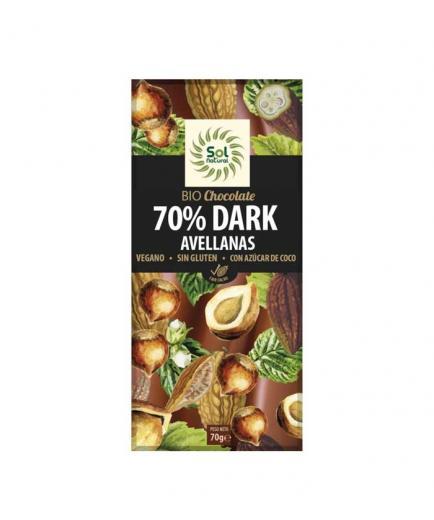 Solnatural - 70% vegan dark chocolate with bio hazelnuts 70g
