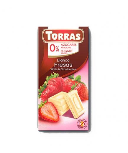 Torras - White chocolate with strawberries 0% added sugar 75g